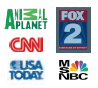 Animal planet logo, fox 2 logo, cnn logo, usa today logo, msnbc logo